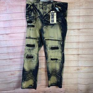 Encrypted Men's Distress Slim Fit Denim Jeans s46